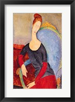 Framed Mme Hebuterne in a Blue Chair, 1918