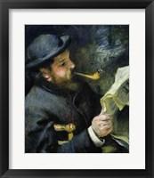 Framed Claude Monet reading a newspaper