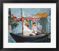 Framed Monet in his Floating Studio, 1874