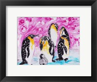 Penguins Under Magenta Sky Framed Print