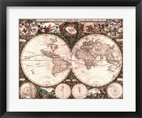 Framed World Map, 1660