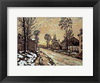 Framed Road at Louveciennes, Melting Snow, Sunset