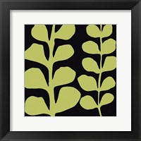 Green Fern on Black Framed Print