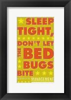 Sleep Tight, Don't Let the Bedbugs Bite (green & orange) Framed Print