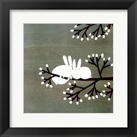 Rabbits on Marshmallow Tree Framed Print