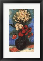 Vase with Carnations and Other Flowers, 1886 Framed Print