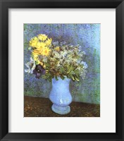 Vase with Lilacs, Daisies and Anemone Framed Print