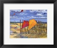 Beach Kites Yellow - mini Framed Print