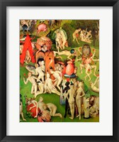 Framed Garden of Earthly Delights: Allegory of Luxury, central panel of triptych, c.1500