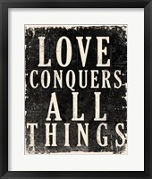 Framed Love Conquers All - Voltaire Quote
