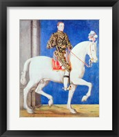 Framed Equestrian Portrait Presumed to be Dauphin Henri II