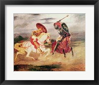 Framed Two Knights Fighting in a Landscape