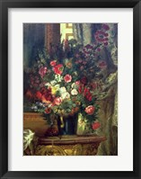 Framed Vase of Flowers on a Console