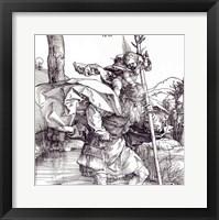 Framed St.Christopher carrying the Infant Christ, 1511