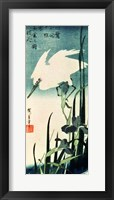 Framed White Heron and Iris