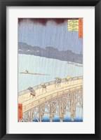 Framed Sudden Shower on Ohashi Bridge