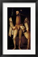 Framed Charles V Holy Roman Emperor and King of Spain with his Dog