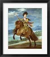 Framed Prince Balthasar Carlos on horseback