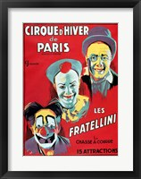 Framed Poster advertising the 'Cirque d'Hiver de Paris' featuring the Fratellini Clowns