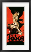 Framed Poster advertising a performance of Tosca, 1899