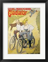Framed Poster advertising Gladiator bicycles and motorcycles