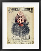 Framed Poster for a Christmas pantomime of 'Blue Beard'