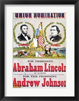 Framed Electoral campaign poster for the Union nomination with Abraham Lincoln