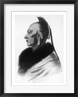 Framed Le Soldat du Chene, an Osage Chief