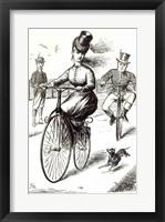 Framed Cartoon of a Lady on a Velocipede, 1869