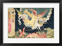 Framed St. Michael and his angels fighting the dragon