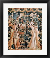 Framed Tutankhamun and his wife Ankhesenamun in a garden