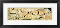 Framed Funerary papyrus of Djedkhonsouefankh depicting Geb and Nut