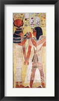 Framed Goddess Hathor placing the magic collar on Seti