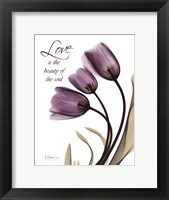 Blackberry Tulips, Love Framed Print
