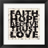 Marble Faith Believe Love Framed Print