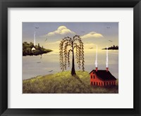 Salt Box by the Lake II Framed Print
