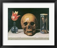 Framed Vanitas Still Life with a Tulip, Skull and Hour-Glass