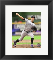 Framed Ubaldo Jimenez 2011 pitching