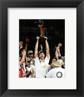 Framed Dirk Nowitzki with the 2011 NBA Championship Trophy Game 6 of the 2011 NBA Finals