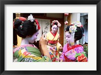 Framed Three geishas, Kyoto, Honshu, Japan (three women)