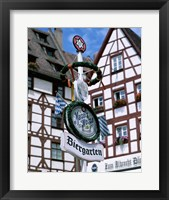 Framed Beer Garden Sign, Franconia, Bavaria, Germany