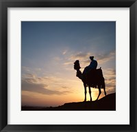 Framed Silhouette of a man on a camel, Giza, Egypt