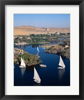 Framed Feluccas on the Nile River, Aswan, Egypt