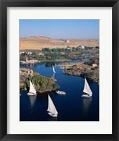 Framed Feluccas on the Nile River, Aswan, Egypt