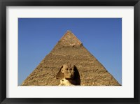 Framed Great Sphinx  Chephren Pyramid  Giza  Egypt