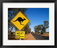 Framed Kangaroo crossing sign, Australia