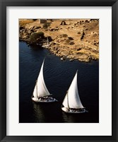 Framed Two sailboats, Nile River, Egypt