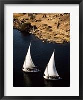 Framed Two sailboats, Nile River, Egypt