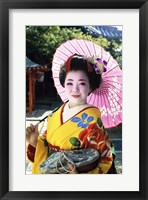 Framed Geisha holding a parasol, Kyoto, Japan