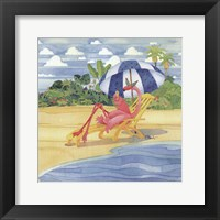 Deck Chair Flamingo Framed Print